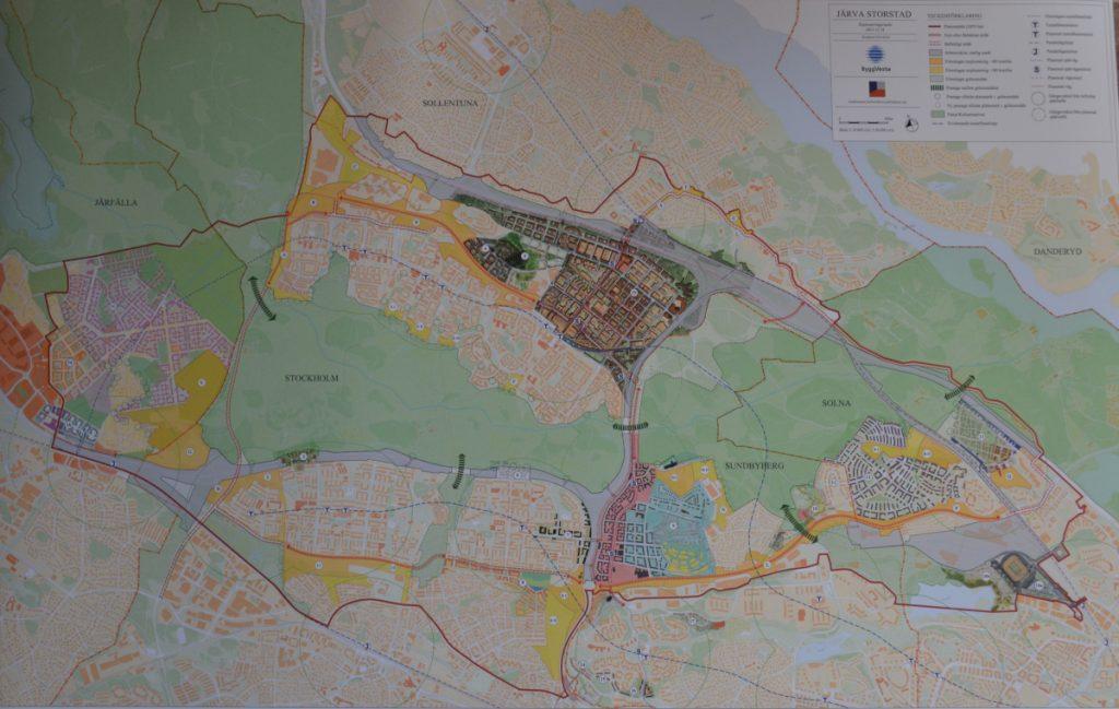 Bild som visar hur områden omkring Järvakilen planeras att bebyggas med ytterligare 100 000 bostäder.